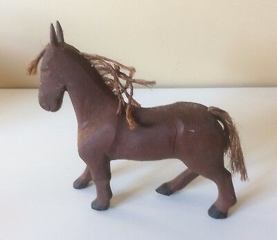 Primitive Handcarved Horse Home 1950 Folk Art Workhorse Ornament Vintage Antique