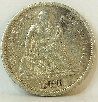 1876 CC Carson City Dime AU 10 Cents Seated Liberty C21