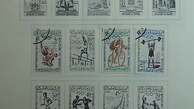Morocco Stamp collection on Scott Int'l pages '60 - '73 ~ w/209 stamps