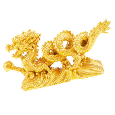 Chinese Gold Dragon Figurine Statue Home Table Ornaments for Luck & Success