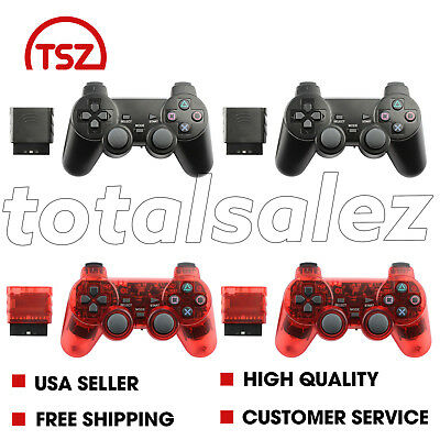 4 For Sony PS2 Playstation 2 Black Red Twin Shock Wireless Game Controller