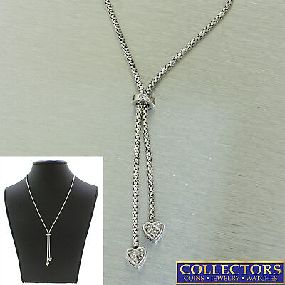 Vintage Estate 14K Solid White Gold Diamond Heart Lariat Necklace .15ctw approx