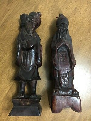 2 Vintage Antique Beautifully Hand Carved Chinese Red  Wood Wise Man Figurine