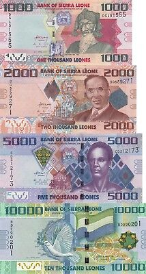 Sierra Leone 4 Note Set: 1000 to 10000 Leones (2010) - p30,p31,p32,p33 UNC