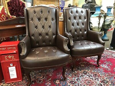 Pair Of Armchairs. Brand New. Buttoned Back. Brown.