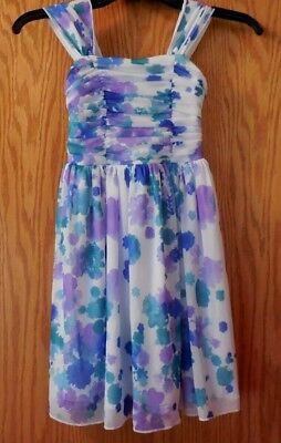 561d8f61f12ee Girl's Party Dress Size 7 White W/ Navy Blue, Teal And Purple Flowers