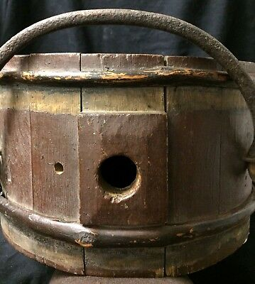 Rare Unusual Shape Antique Swedish 1800's Wood & Iron Brandy Keg Old Collectible