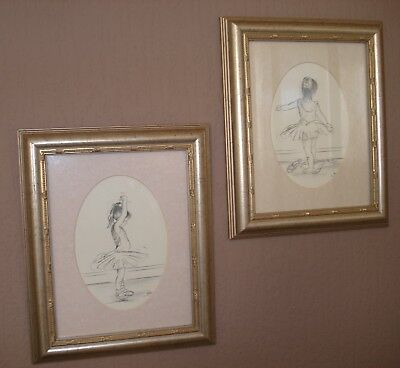 A Pair Of Young Girl Ballerinas Pencil Drawings By Steve O'connel:signed 20% Off