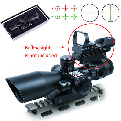 2.5-10x40ER Tactical Rifle Scope Red  Green Laser Mil-dot illuminated w/Mount