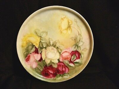 """Antique (1905) JPL J POUYAT Limoges France Hand Painted Rose Charger/Plate 11""""–"""