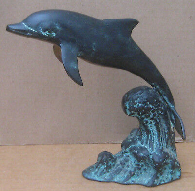 "Bronze on Brass Dolphin Statue 7"" Tall SPI San Pacific Int'l San Francisco"