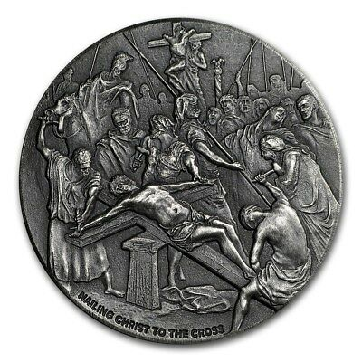 Nailing Christ to the Cross 2 oz .999 silver coin Biblical series, Bible Story