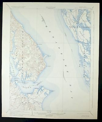 Chesapeake Bay Topographic Map.1905 Drum Point Lexington Park Chesapeake Bay Maryland Vintage Usgs
