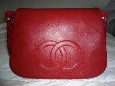 d389fa3c9138 PRISTINE AUTH CHANEL Half Moon Timeless Accordion Jumbo Xl Caviar Classic  Red - $1,699.00 | PicClick