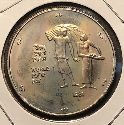 1981 India World Food Day 10 Rupees. Collector Coin For Your Set Or Collection.