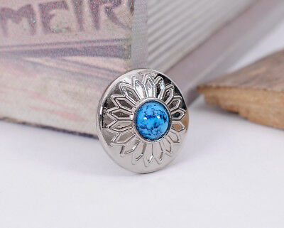 10X Turquoise Bead Charm Bling Silver Sun Flower Leather Wallet Western Conchos