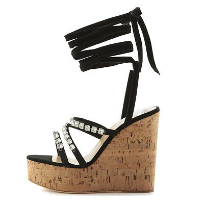 1abc84d8a New Women Cork Wedge High Platform Sandals Strappy Ankle Wrap High Heel  Shoes