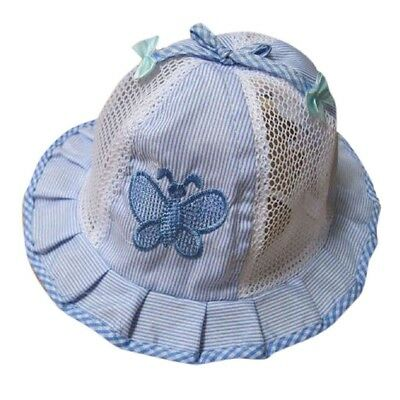 baby Infant Kids Summer Hat Cap Butterfly Bow Visor Cap (Blue) E7F2
