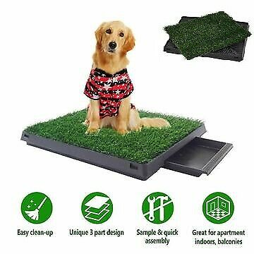 Dog Toilet Pet Training Tray Indoor Portable 1 / 2 Grass Mat Large Loo Potty