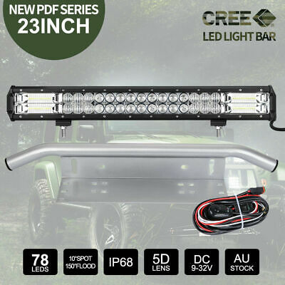 23inch CREE LED Light Bar Work Driving Bars & 23'' Silver Number Plate Frame