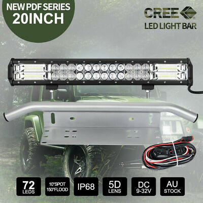 20inch CREE LED Light Bar SPOT FLOOD Driving & 23'' Silver Number Plate Frame