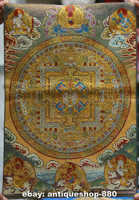 "24"" Tibet Tibetan Cloth Silk Buddhism Mandala '坛城' Tangka Thangka Painting Mural"