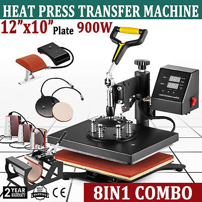 "8in1 12""x10"" Swing Away Digital Heat Press Machine Transfer Sublimation T-shirt"