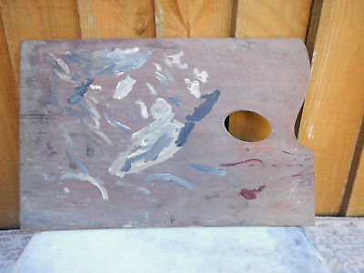 Vintage Old Decorative Mahogany Wood Artists Oil Paint Palette ~ Used Patina