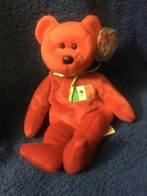 Ty Beanie Babies 1999 Osito Red Mexico Bear  w/ Tag Excellent  PE