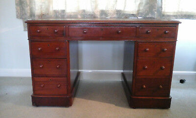 Mahogany Victorian 9 drawer antique desk