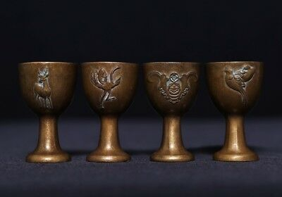 Two Pairs Of Spectacular Special Unique Old Chinese Animals Carving Cups US415