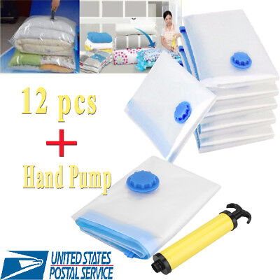 12x Vacuum Storage Bags Space Saver + Hand Pump For Travel Triple Seal Clothes