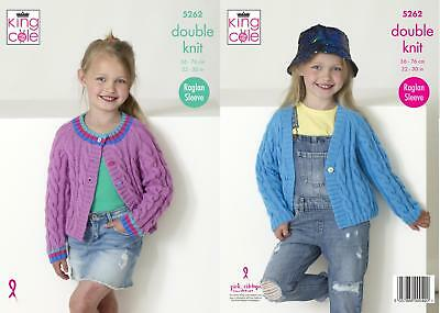 a3c6bf548 KING COLE 5140 Knitting Pattern Baby Child Cardigans in Big Value ...