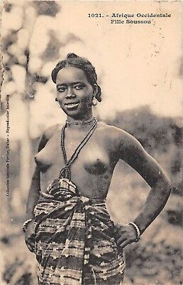 Postcard   Ethnic   Africa    Nude  Women  Afrique  Occidentale  Fille  Sousson