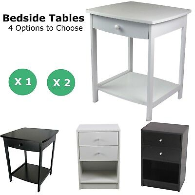 Bedside Table Cabinet Lamp Side Nightstand Unit High Gloss White Black Wooden