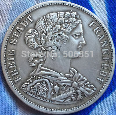 1866 FREIE STADT FRANKFURT SILVER PLATED COPPER COIN, Collectible GERMAN COIN