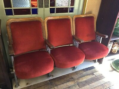 Cast Iron set of 3 cinema/theatre seats - Lots available. In very good condition