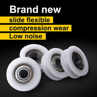 4pcs 7 Size U Groove Metal Shield Nylon Pulley Wheels Roller Ball Bearings New