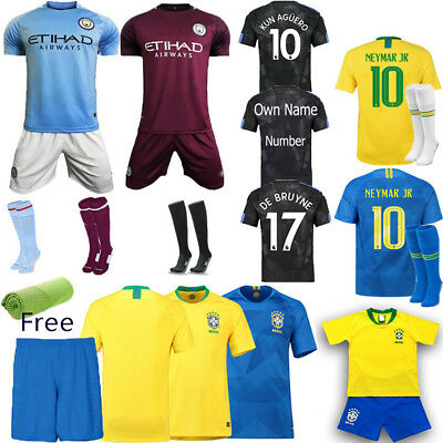 2018 Home Away Sports Suit Soccer Football Short Sleeve Kit Kid 3-14Y Club Shirt