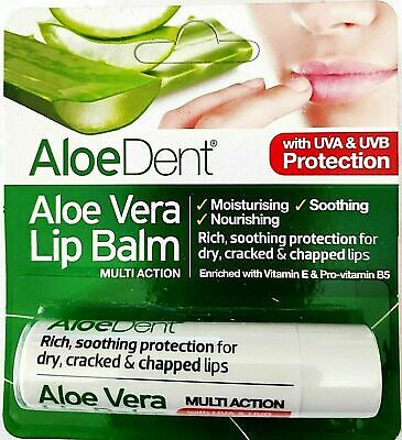 Optima AloeDent Aloe Vera Lip Balm With Tea Tree & Lysine 4g (PACK of 3)