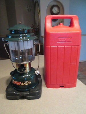 Vintage COLEMAN CLX Adjustable Double Mantle Lantern Forest Green Dated 11/84