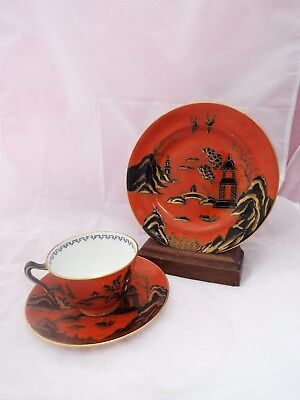 CROWN STAFFORDSHIRE TRIO Chinese Willow  A10995 Rare Orange Hand Painted