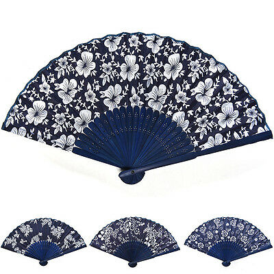 Classical Flower Blue Fabric Hand Fan Dyed Bamboo Frame Wedding Party Favor New