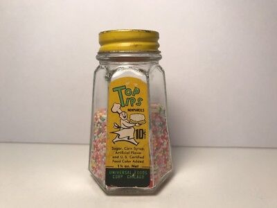 Vintage Baking Display Bottle Top Tips Nonpareils Candy Glass w/ Metal Cap