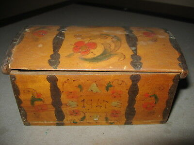 Miniature Norway Sweden Finland Immigrant's Trunk With Rosemaling 1947
