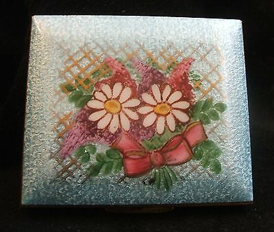 Vintage Gold Tone and Guilloche Enamel White Daisies Turquoise Blue Compact