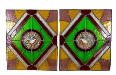 French Antique Pair of Stained Glass Window Panel with Enamelled Bird