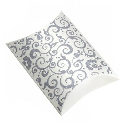 Silver Glitter Small Cream Pillow Gift Box 11x8x3cm Pack of 1 (G36/1)