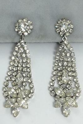 Vintage Long Statement Crystal Rhinestone Drop Clip Earrings Rhodium Plated