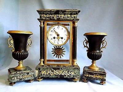 "Superb French Black/Green/Bronze Garniture Set ""Samuel Marti"" 1860."